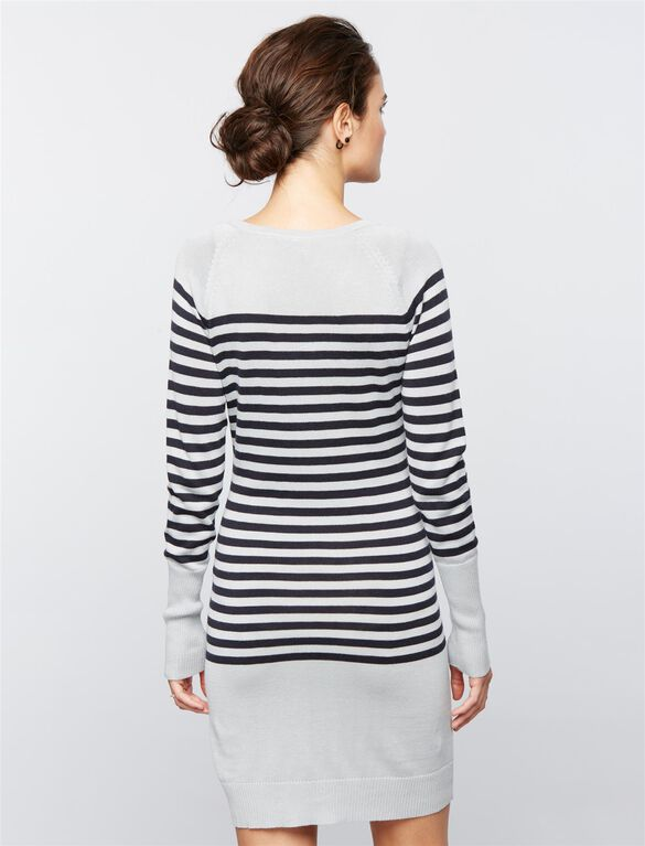 Seraphine Pull Over Rib Knit Nursing Dress, Grey Stripe