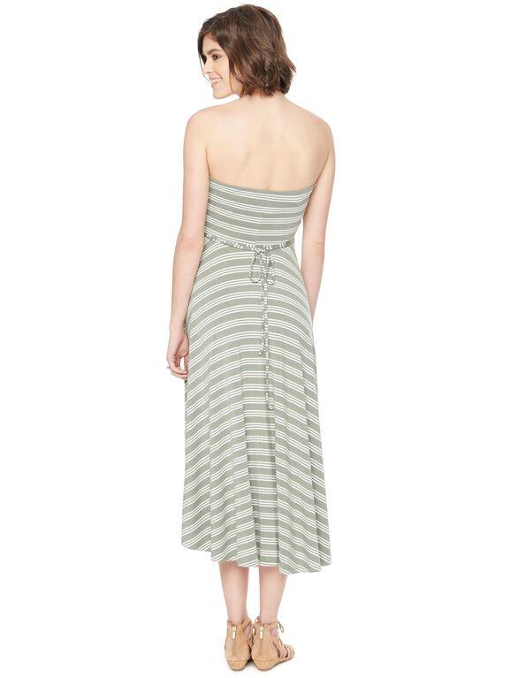 Strapless High-low Hem Maternity Dress- Stripe, Olive/White