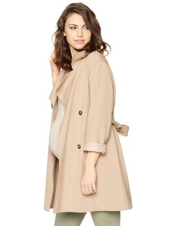 Fashionista Maternity Trench Coat, Khaki