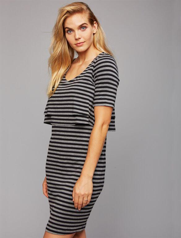 Ruffle Tier Lift Up Nursing Dress, Black/Grey Stripe