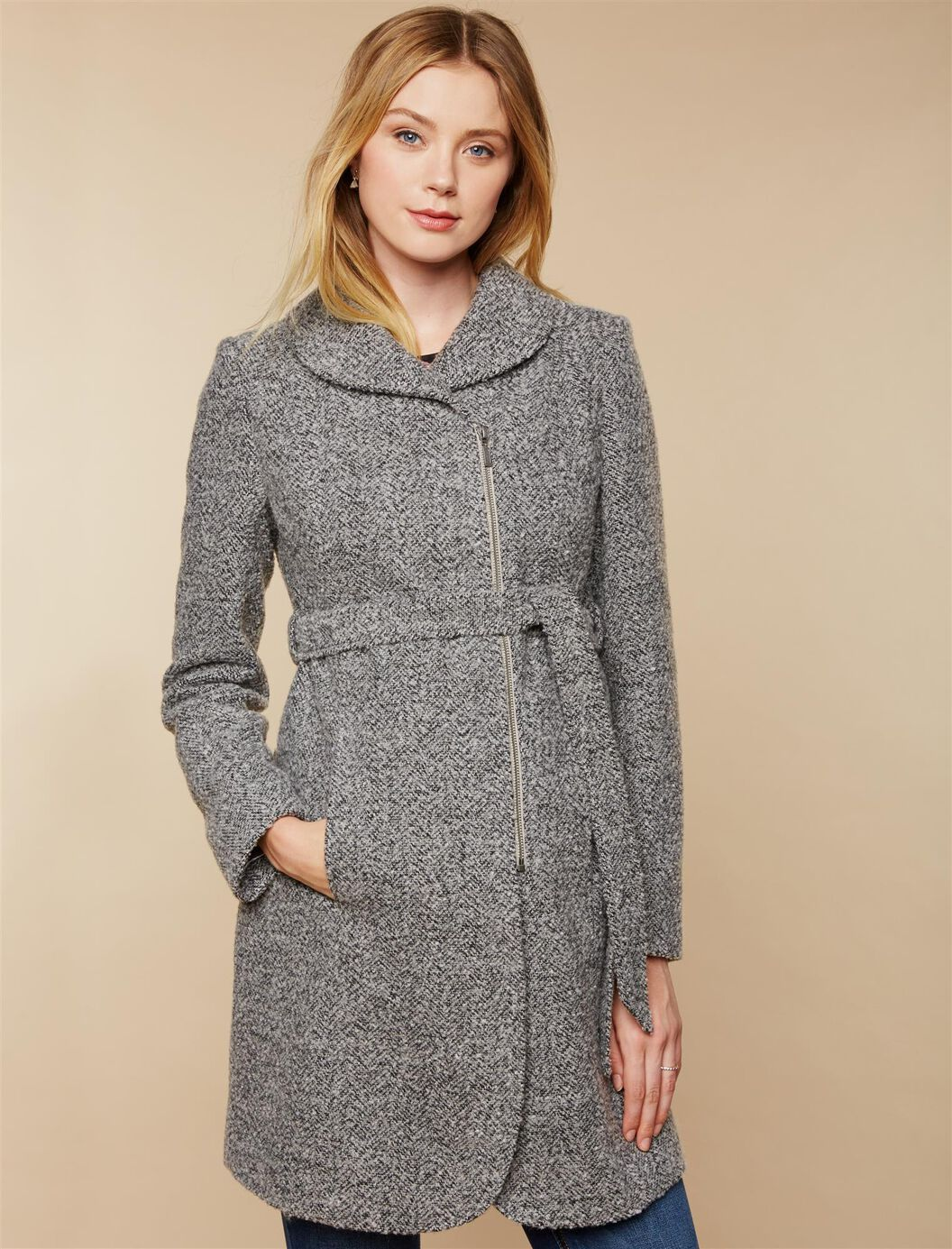 Removable Waist Tie Wool Maternity Coat at Motherhood Maternity in Victor, NY | Tuggl