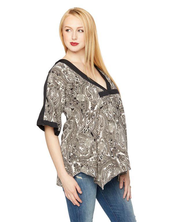 Rachel Zoe Printed Half Sleeve Maternity Peasant Top, Paisley Print