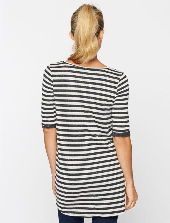 High-low Hem Maternity Tunic, Charcoal/White