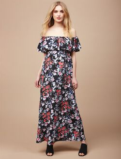 Off The Shoulder Maternity Maxi Dress, Floral Print