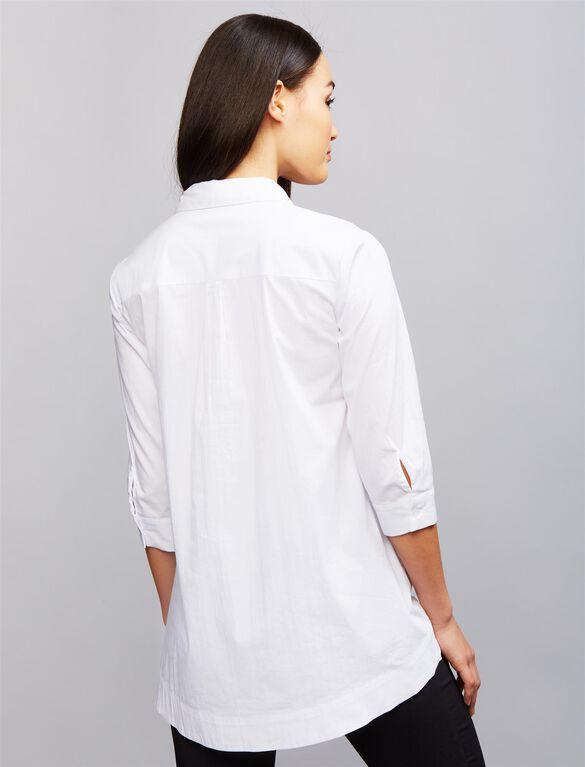 Soon Button Down Maternity Shirt, White