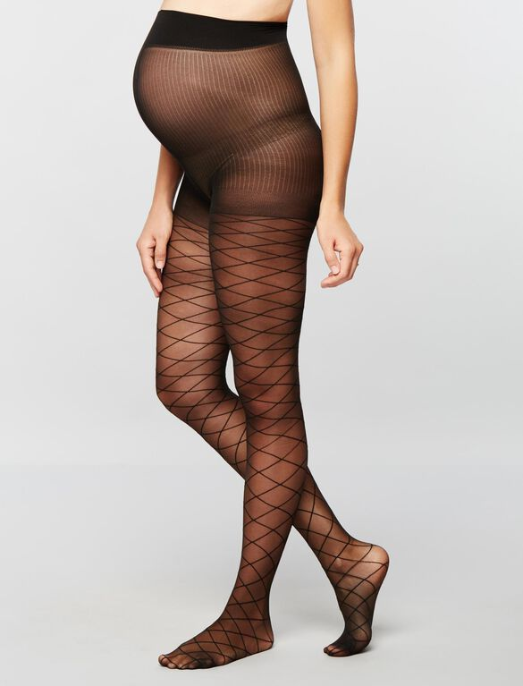 Sheer Diamond Print Maternity Pantyhose, Black
