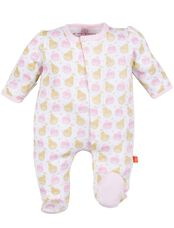 Apple & Pear Printed Baby Footie, Pink Motif
