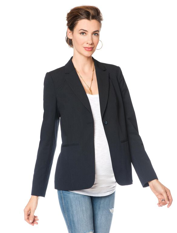 Tailored Bi-stretch Suiting Maternity Jacket, Navy