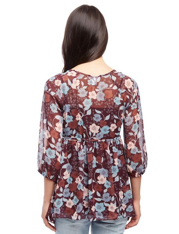 Tie Front Maternity Blouse, Brown Floral