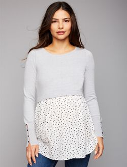 Babydoll Maternity Sweater, Heather Grey/Dot Print
