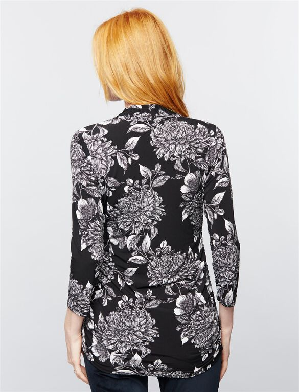 Side Pleat Maternity Top- Floral, Black/White Floral
