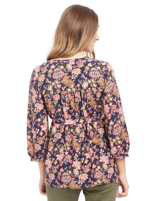 Button Detail Maternity Blouse, Navy Floral