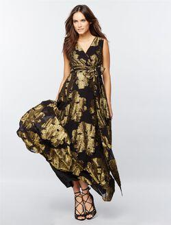 Jacquard Metallic Chiffon Maternity Gown, Black