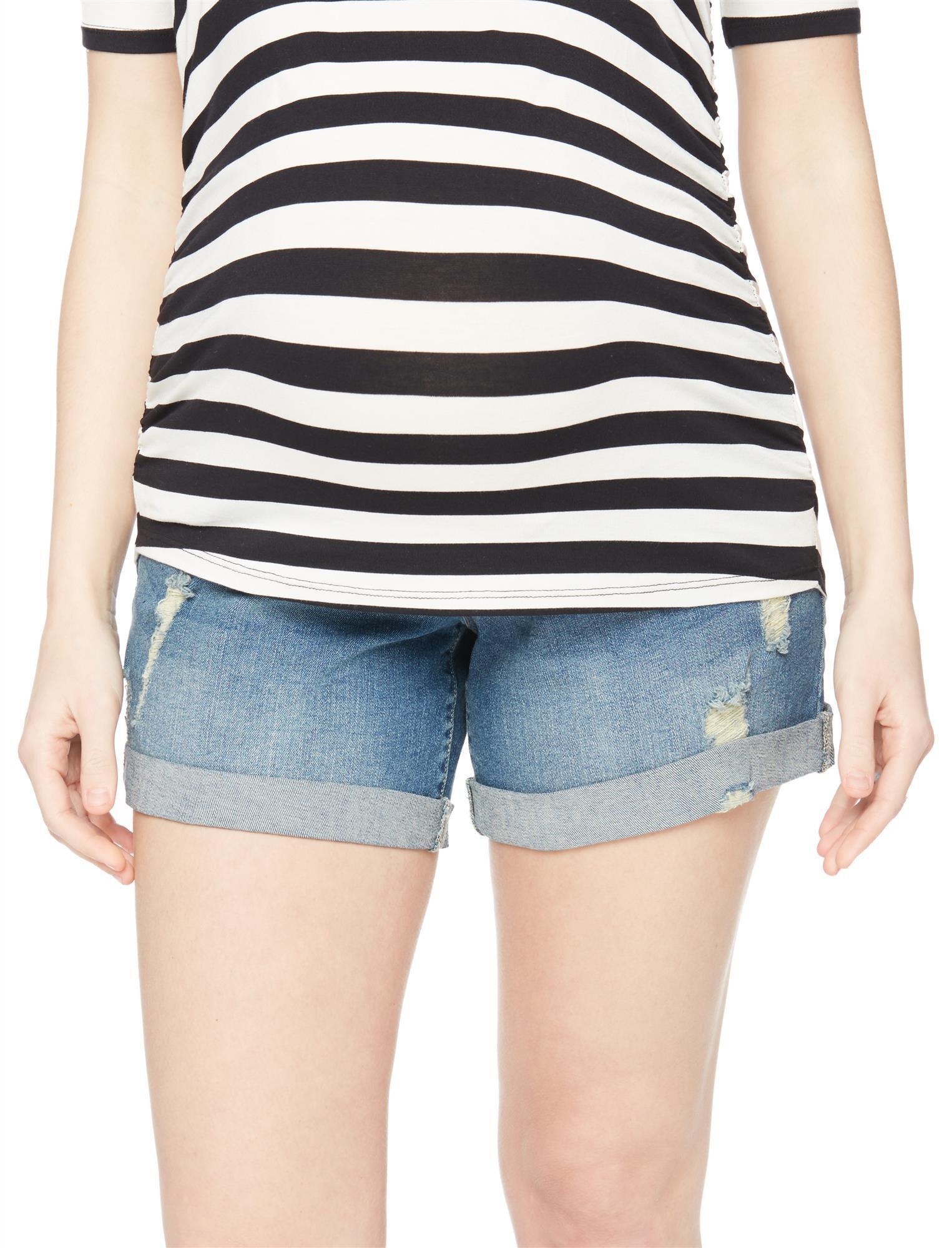 Indigo Blue Secret Fit Belly Destructed Roll Hem Maternity Shorts