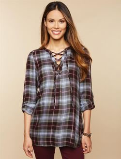 Tie Front Maternity Top, Pink Green Plaid