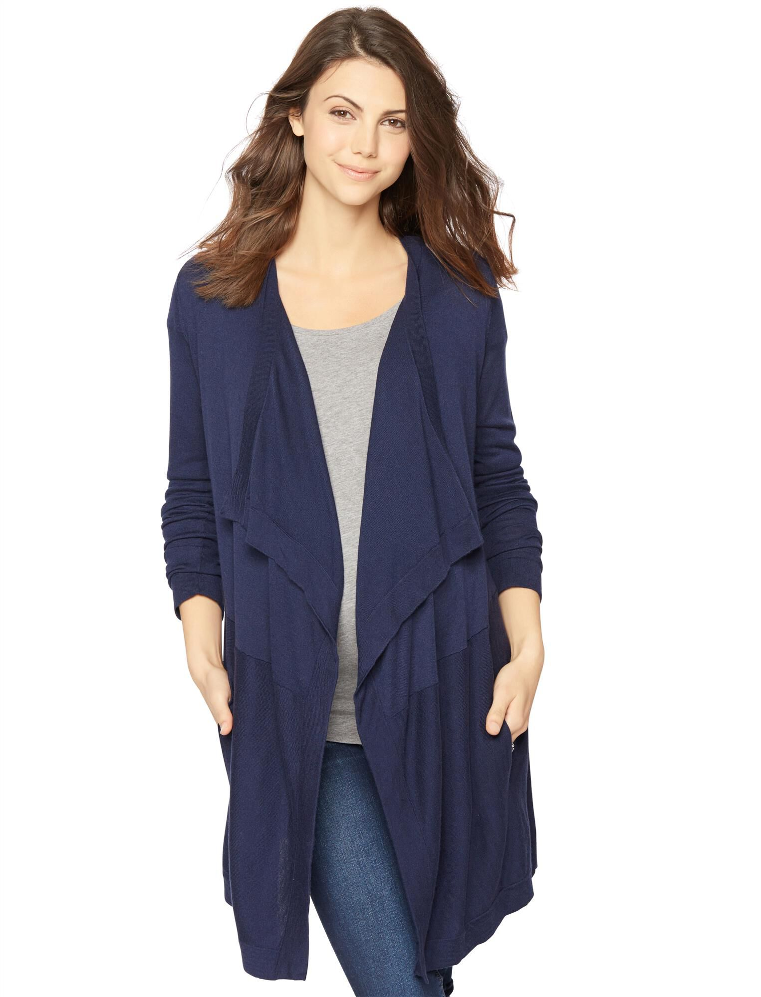 Belted Cascade Maternity Cardigan