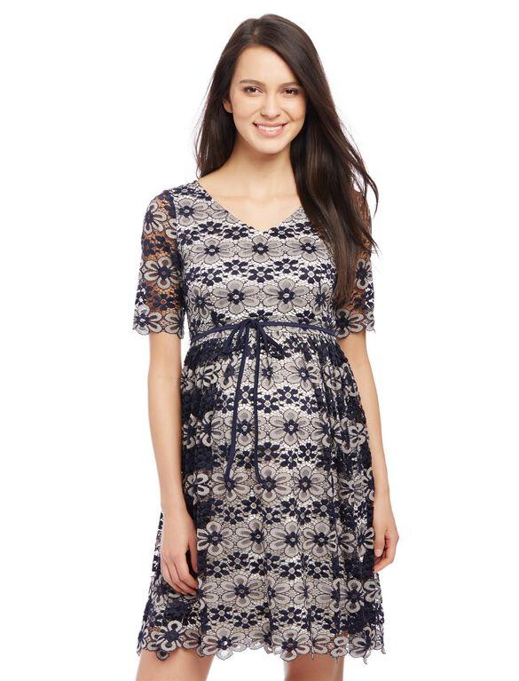 Lace Back Cutout Maternity Dress, Navy