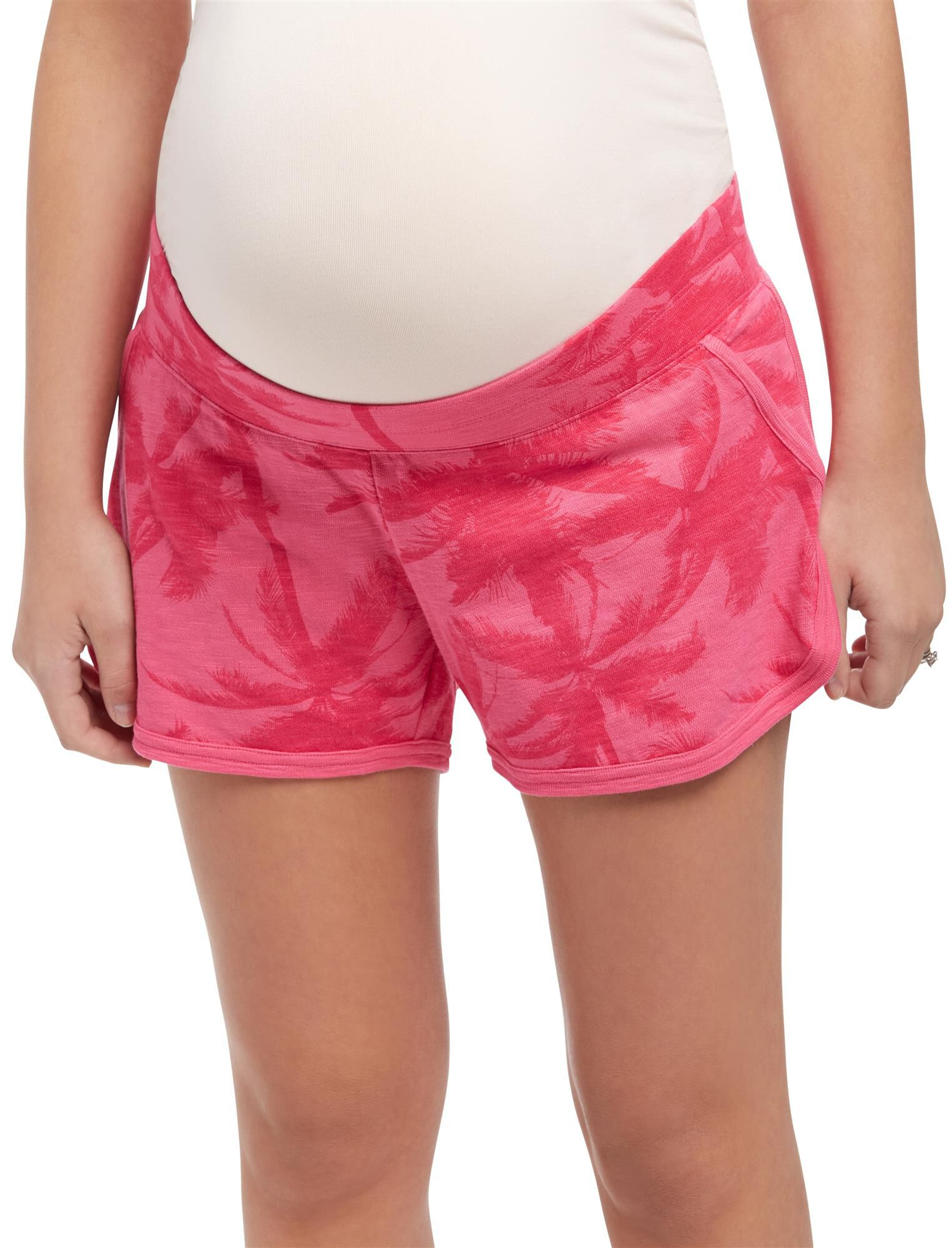 Under Belly French Terry Maternity Shorts- Pink Palm Print