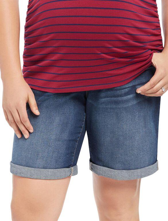 Plus Size Secret Fit Belly Roll Hem Maternity Bermuda Shorts, Dark Wasj