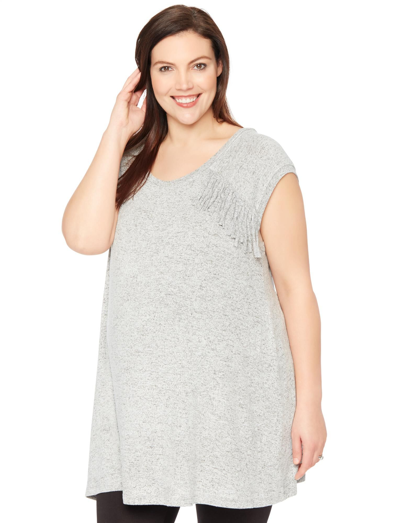 Wendy Bellissimo Plus Size Fringe Detail Maternity Top