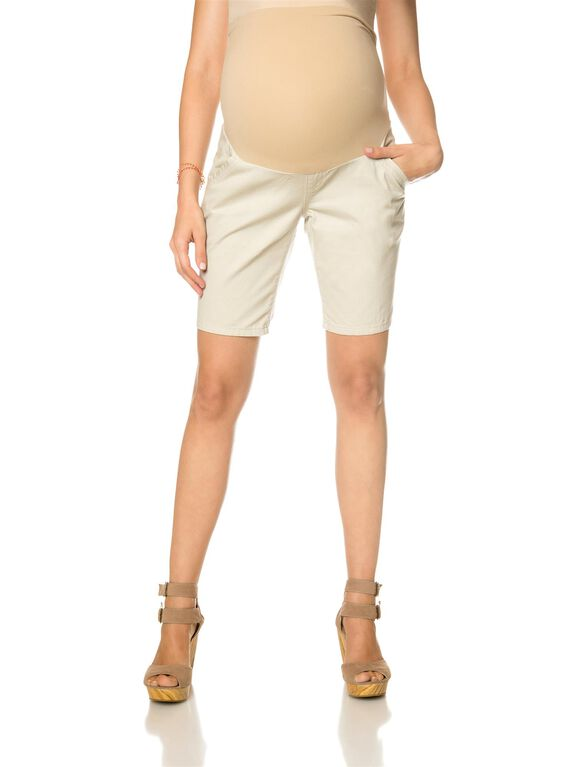 Secret Fit Belly Khaki Maternity Bermuda Shorts, Khaki