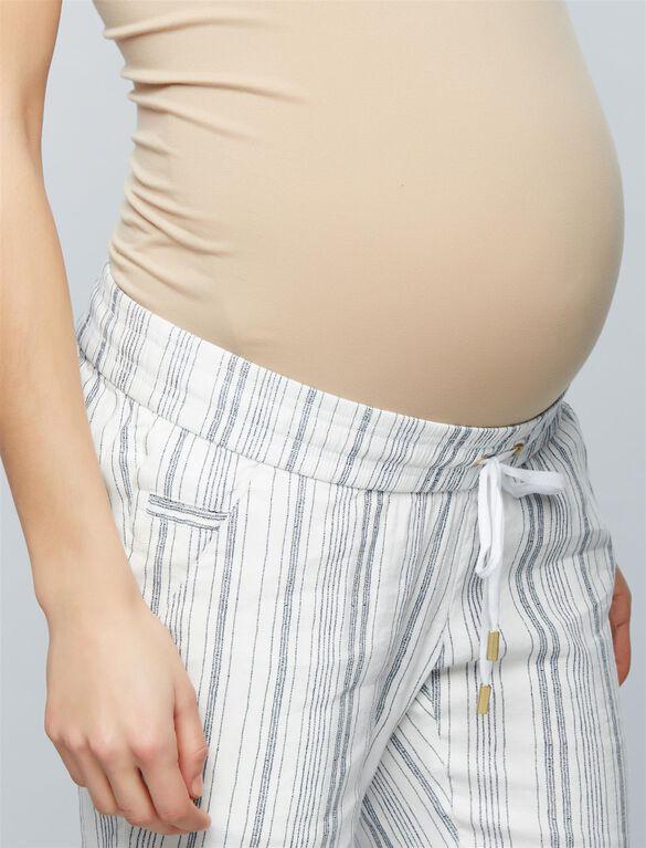 Under Belly Linen Wide Leg Maternity Pants, Stripe