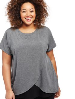 Plus Size Lift Up Relaxed Fit Nursing Tee, Grey