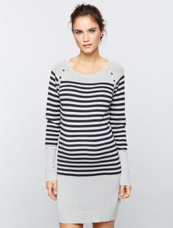 Seraphine Pull Over Rib Knit Nursing Dress, Grey Stripe
