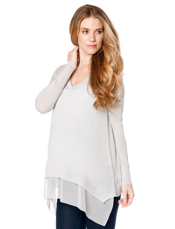 Hanky Hem Maternity Sweater, Platinum