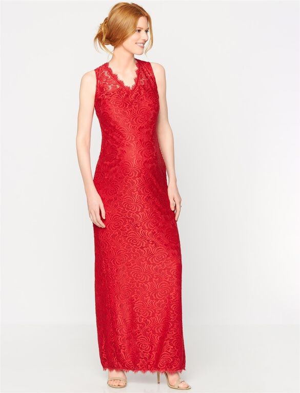 Sleeveless Lace Maternity Gown, Red