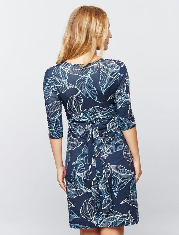 Madderson London Knit Maternity Dress - Print, Blue/White Print
