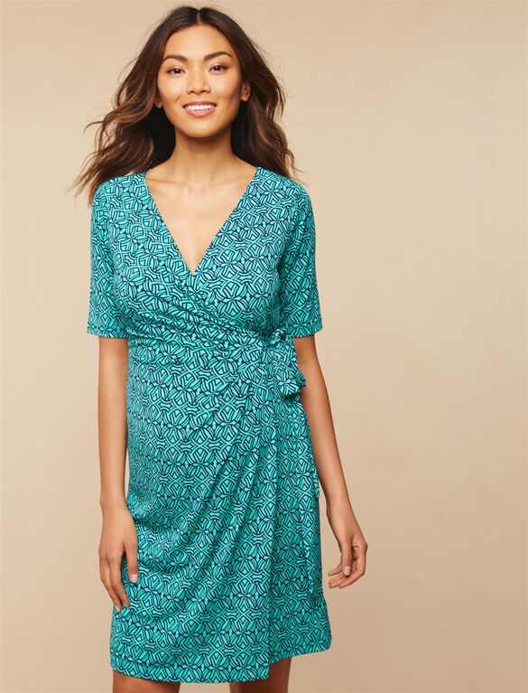 Waist Tie Surplice Maternity Dress, Atlantis/Navy Print