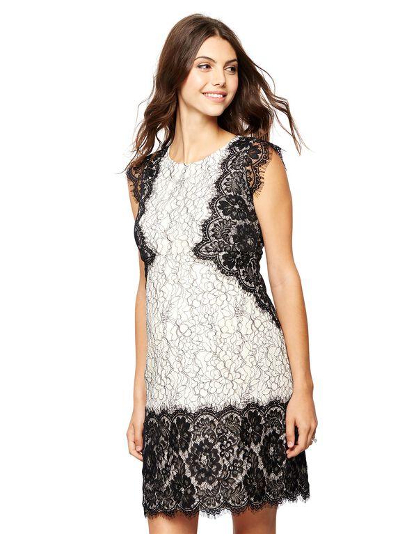 Lace Trim Cap Sleeve Maternity Dress, Core Black