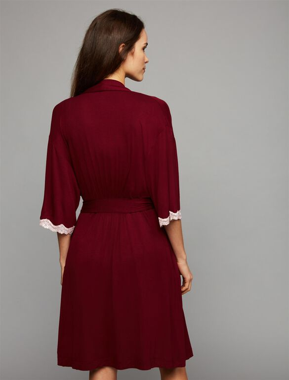 2 Piece Clip Down Nursing Nightgown And Robe, Wine Geo