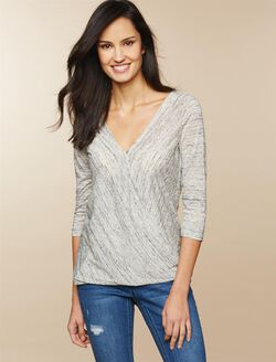 Jessica Simpson Pull Over Wrap Nursing Top, Heather Grey