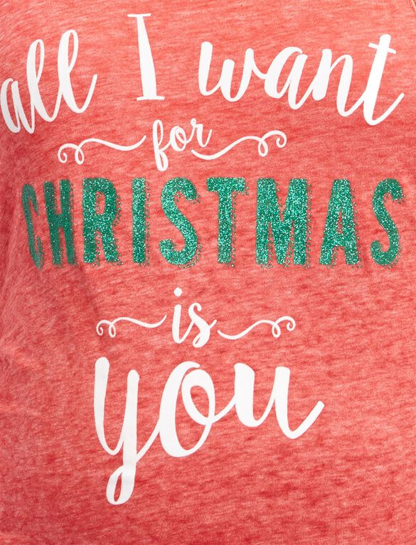 All I Want For Christmas Maternity Tee, All I Want Cherry