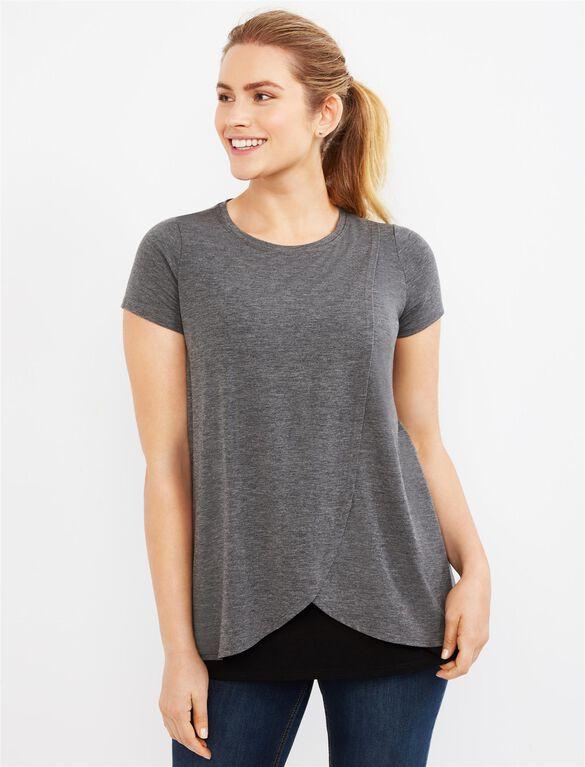Short Sleeve Tulip Layered Nursing T-shirt- Solid, Heather Grey