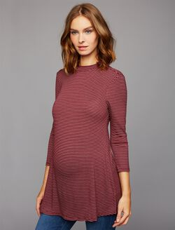 Striped Keyhole Detail Maternity Top, Red/Pink Stripe