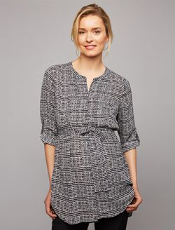 Daniel Rainn Convertible Sleeve Maternity Tunic, Black Print