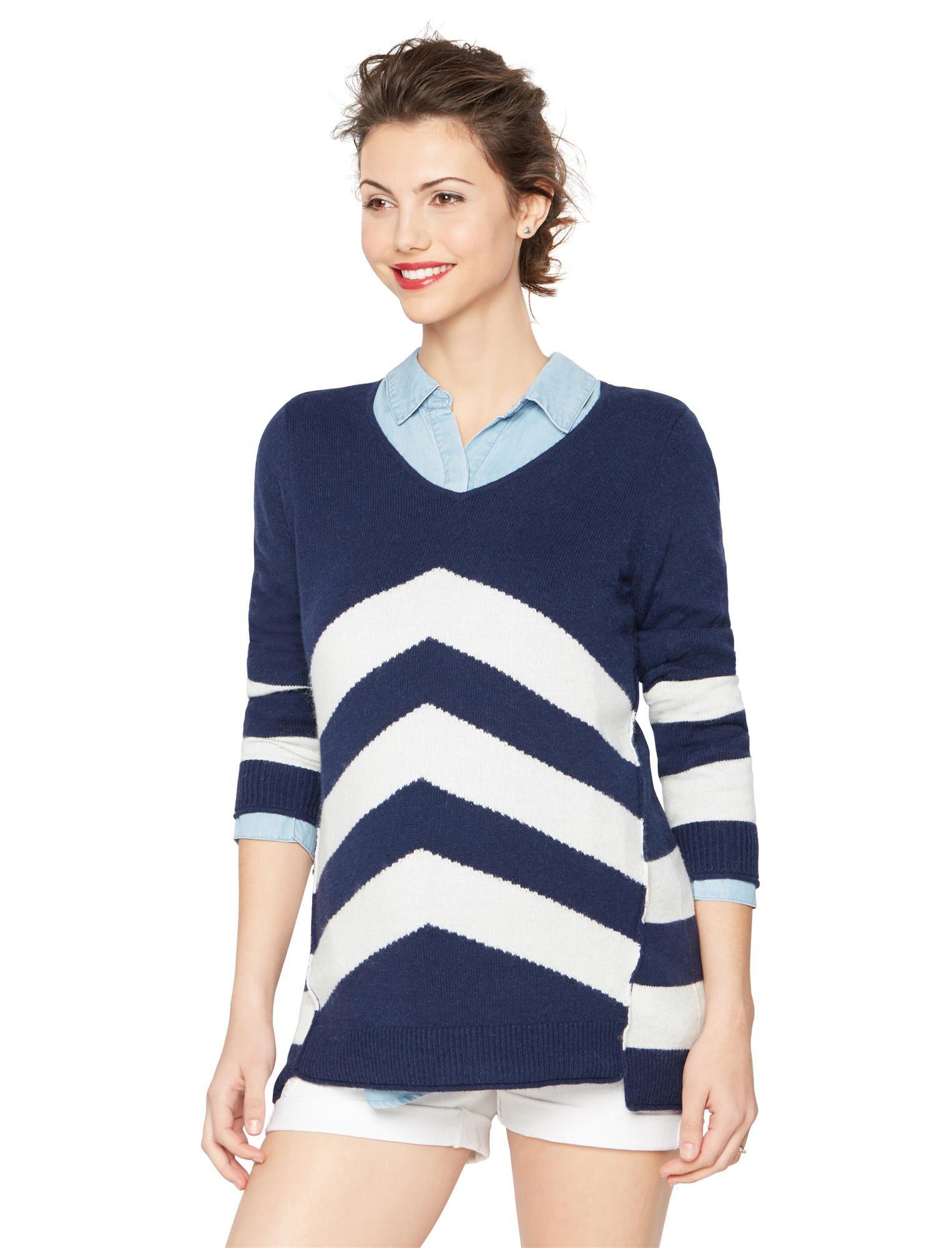 Chevron Stripe Maternity Sweater