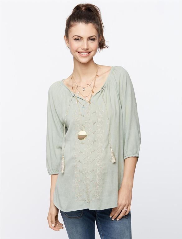 Beaded Maternity Blouse, Seafoam Green
