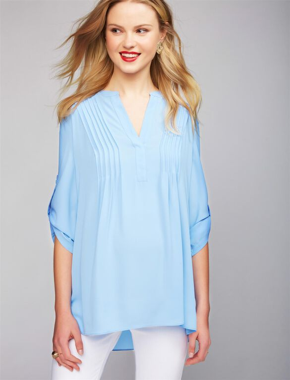 BCBGMAXAZRIA Pleated Convertible Sleeve Maternity Blouse, Blue