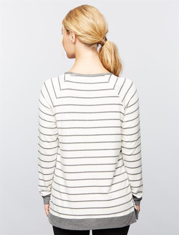 Side Slit Maternity Sweatshirt, Grey/White Stripe