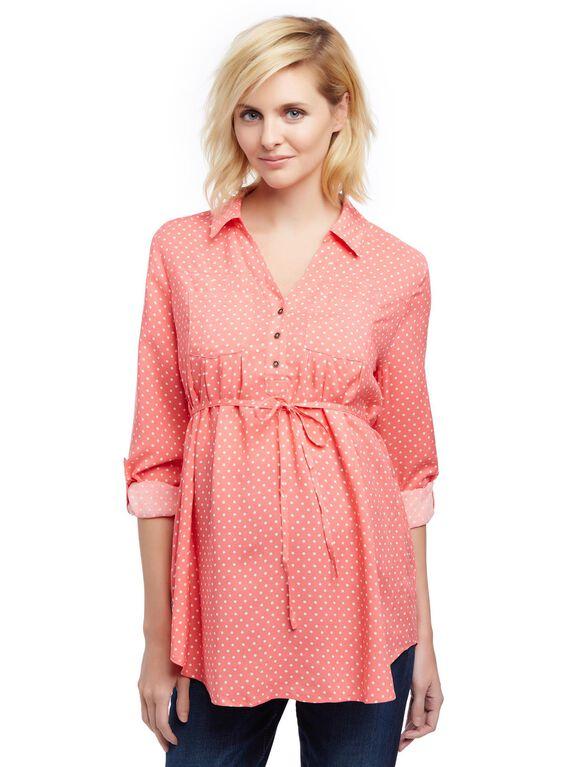 Front Pocket Maternity Shirt, Sugar Coral Dot