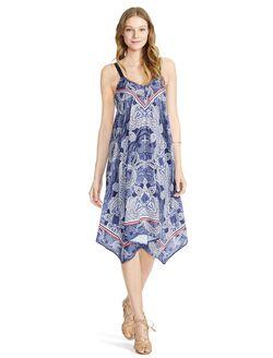Jessica Simpson Paisley Hanky Hem Maternity Dress, Navy Paisley
