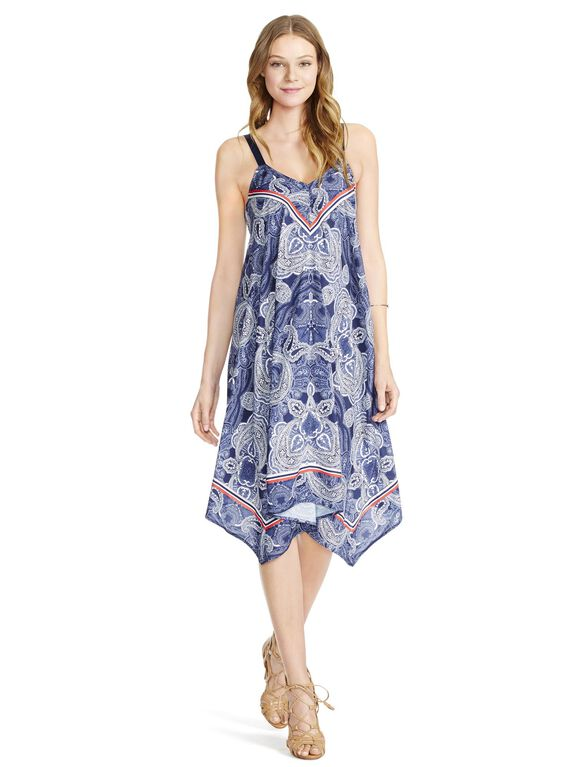 Jessica Simpson Paisley Hanky Hem Maternity Dress, Navy Paisley