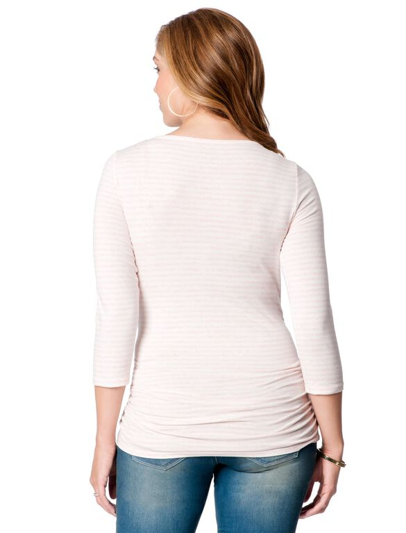 Scoop Neck Side Ruched Maternity Top, Pink Stripe