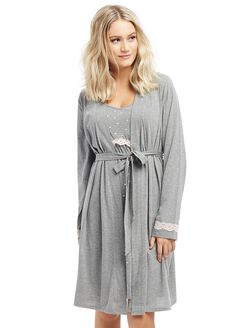 Lace Trim Maternity Nightgown And Robe, Light Heather Grey