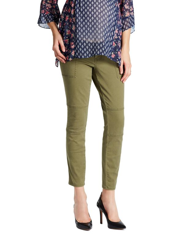 Jessica Simpson Under Belly Twill Skinny Leg Maternity Ankle Pants, Olive