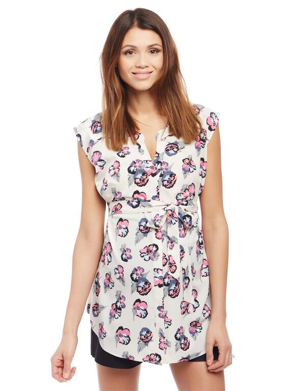 Cap Sleeve Tie Detail Maternity Tunic, Pink Floral